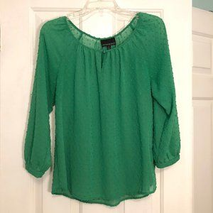 Cynthia Rowley - Kelly Green Swiss Dot Blouse